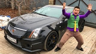 Mr. Joe on Chevy Camaro found Car Keys & Started Funny Race on Cadillac CTS-V coupe for Kids