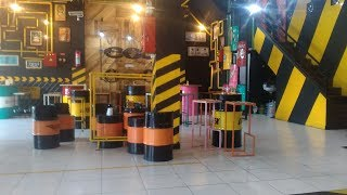 Cafe and Coffee Shop Interior Design Ideas - Recycled Oil Drums Furniture and PVC Pipes Art