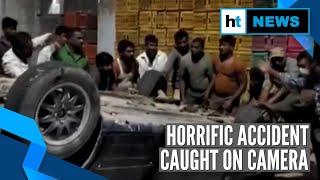 Watch: Speeding car falls off flyover in Hyderabad, 1 killed