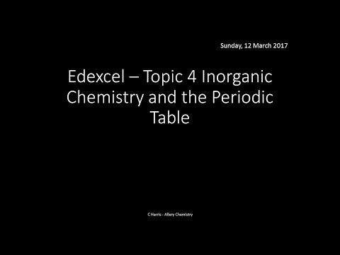 EDEXCEL Topic 4 Inorganic Chemistry and the Periodic Table REVISION