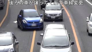 黄色線でお巡りさんが警告してくれているのに後続の車に譲ってもらってまで違反した車の結末 thumbnail