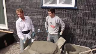 Teaching beginners plastering and stucco work