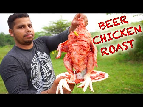 BEER CHICKEN ROAST IN THE WILD || WHOLE BIG CHICKEN COOKING USING BEER CAN