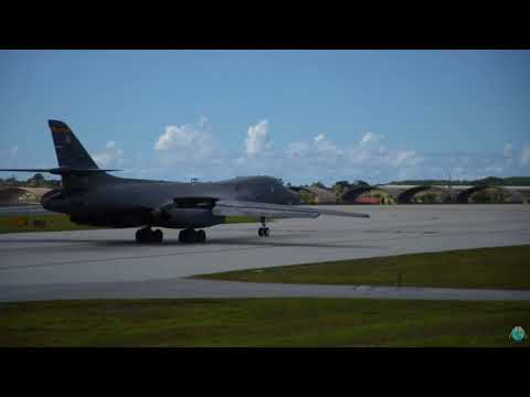 Two B 1B Lancers take off from Andersen Air Force Base, Guam