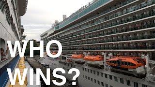 Best Cruise Ship Horn Battle - Royal Caribbean vs. P&O Cruises 4K