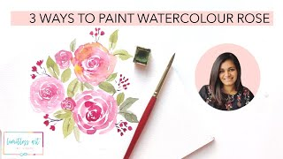 3 Easy Ways to paint loose watercolor roses - Tutorial