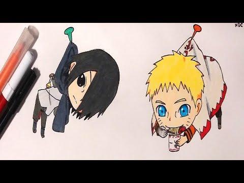 Drawing Chibi Adult Sasuke and Hokage Naruto