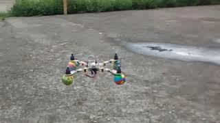Homemade quadcopter flying scene.