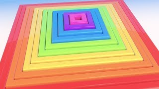 Learn Colors with 3D Soccer balls Square Spiral