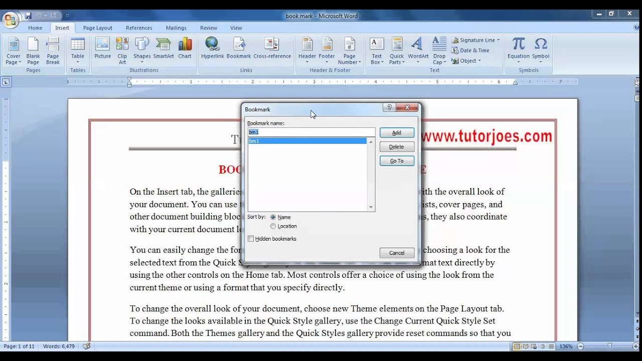 Bookmark cross reference in microsoft word youtube buycottarizona Choice Image