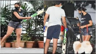 Malaika Arora Snapped Playing Cricket With Son Arhaan Khan And Pet Casper