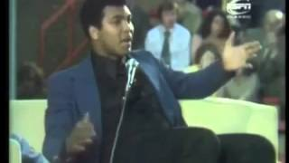 Muhammad Ali giving an inspirational speech.