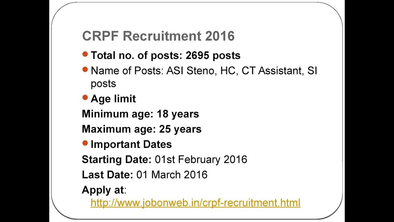 2016 job recruitment