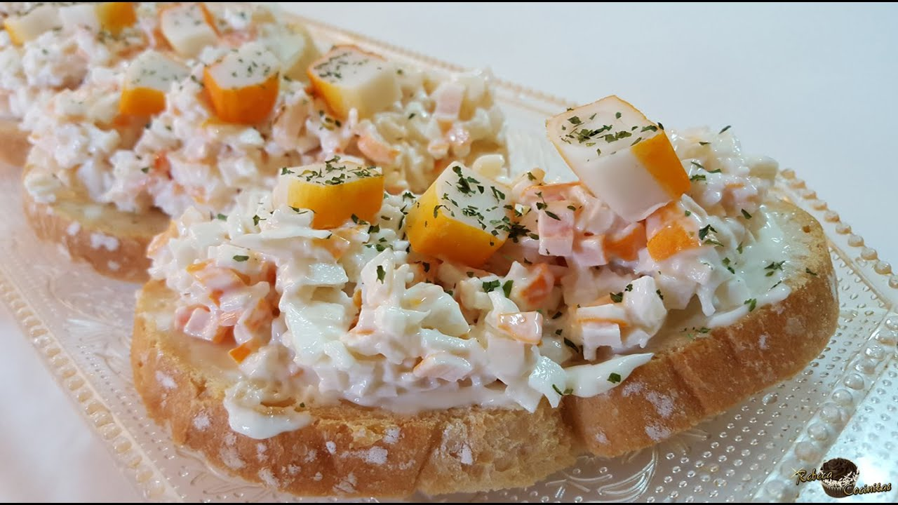 tostas de cangrejo o surimi youtube