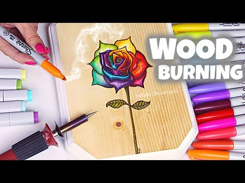 WOOD BURNING with SHARPIE MARKERS // Rainbow Rose Drawing 🌹