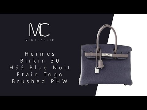 • MIGHTYCHIC • Hermes 30 Hac Gris Moyen Todoo Feutre Blue Nuit Togo PHW