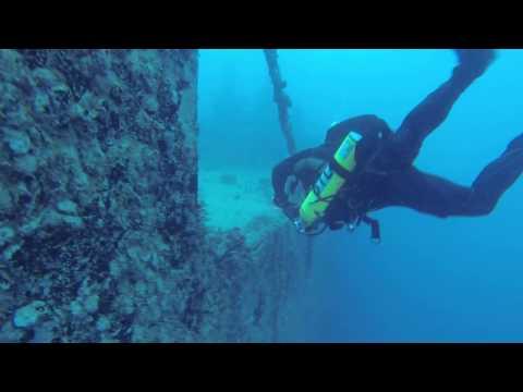 Scuba diving deep inside the Spiegel Grove shipwreck Key Largo FL