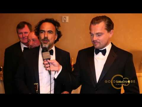 Leonardo DiCaprio  Alejandro Inarritu Side Stage Interview  Golden Globes 2016