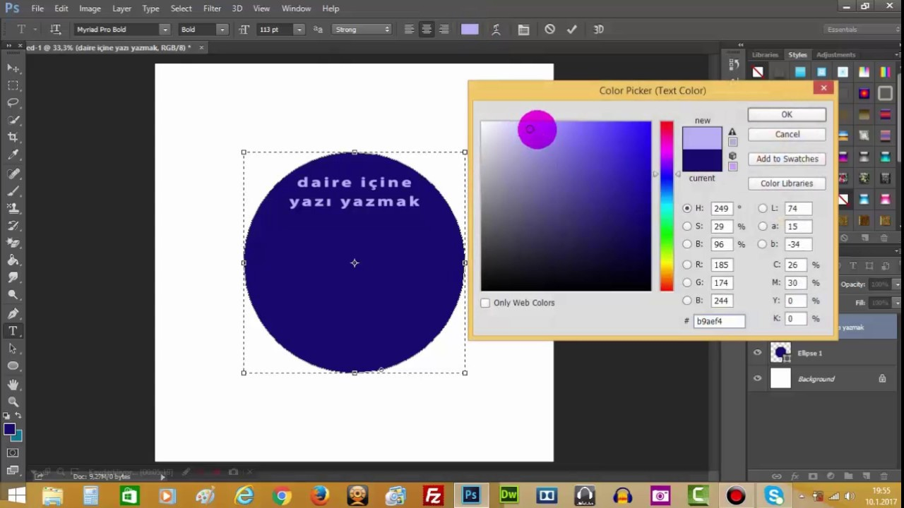 Photoshop CS6-Dairesel Hat Üzerinde Yazı Yazmak