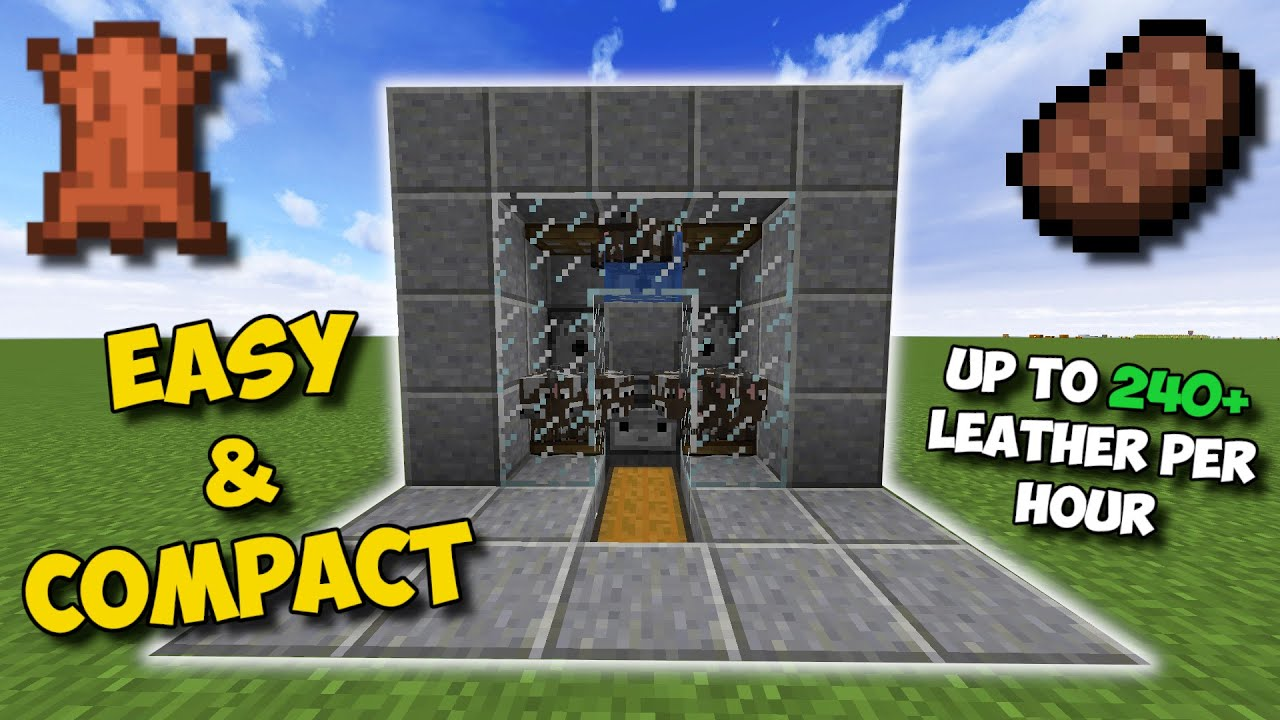 1 16 Easiest Way To Get Leather In Minecraft Auto Cow Farm Youtube