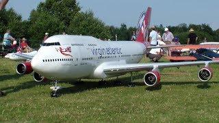 RELOADED RC BOEING 747-400 MAIDEN FLIGHT VIRGIN ATLANTIC WORLD BIGGEST RC JUMBO