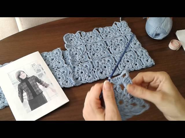 жакет из квадратных мотивов безотрывное вязание крючком часть 1