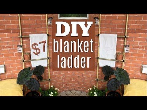 DIY Dollar Store Blanket Ladder