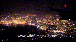 Night view of Kolkata from plane