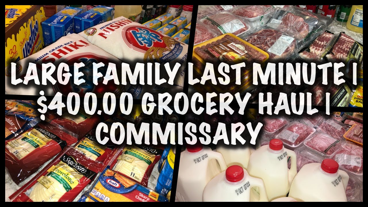 LARGE FAMILY LAST MINUTE 🤪 $400 🛒 GROCERY 🛒 HAUL   COMMISSARY