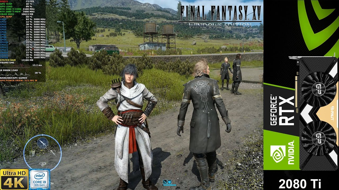 Final Fantasy XV Ultra Settings , 4K Textures , DLSS 4K | RTX 2080 Ti | i9  9900K 5GHz