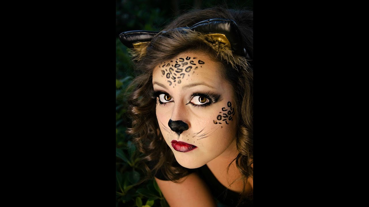 wild cat halloween makeup - youtube