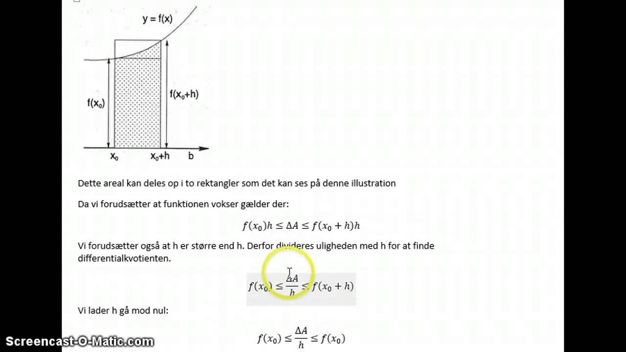 Bevis for arealfuntionen som stamfunktion og A