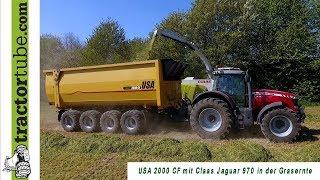 Mit 4-Achser USA 2000 CF und Claas Jaguar 970 im Gras