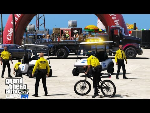 GTA 5 LSPDFR Police Mod 475 | Concert On The Beach | Metro Police Patrolling On Bicycles & Golf Cart