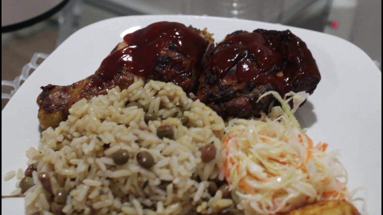 how to make jamaican jerk chicken  rice and peas  youtube