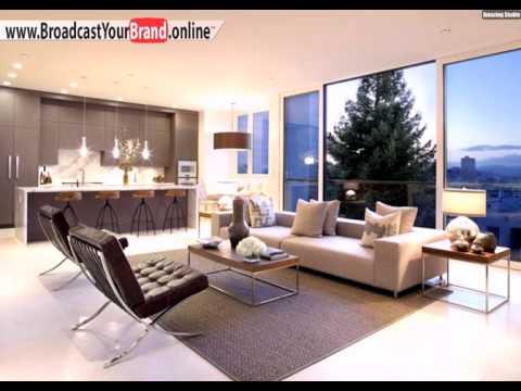 wohnzimmer k che in einem wei er boden fliesen beige braun. Black Bedroom Furniture Sets. Home Design Ideas