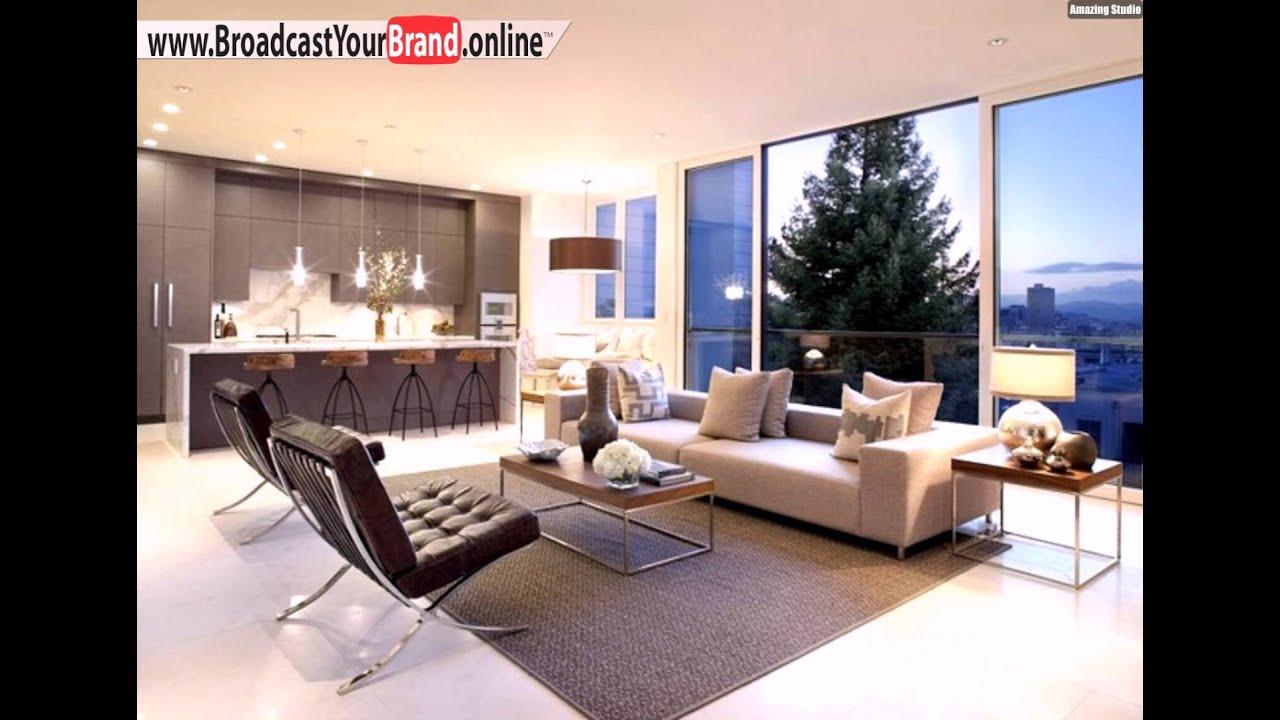 Wohnzimmer Kche In Einem Weier Boden Fliesen Beige Braun Rustikale Barhocker  YouTube