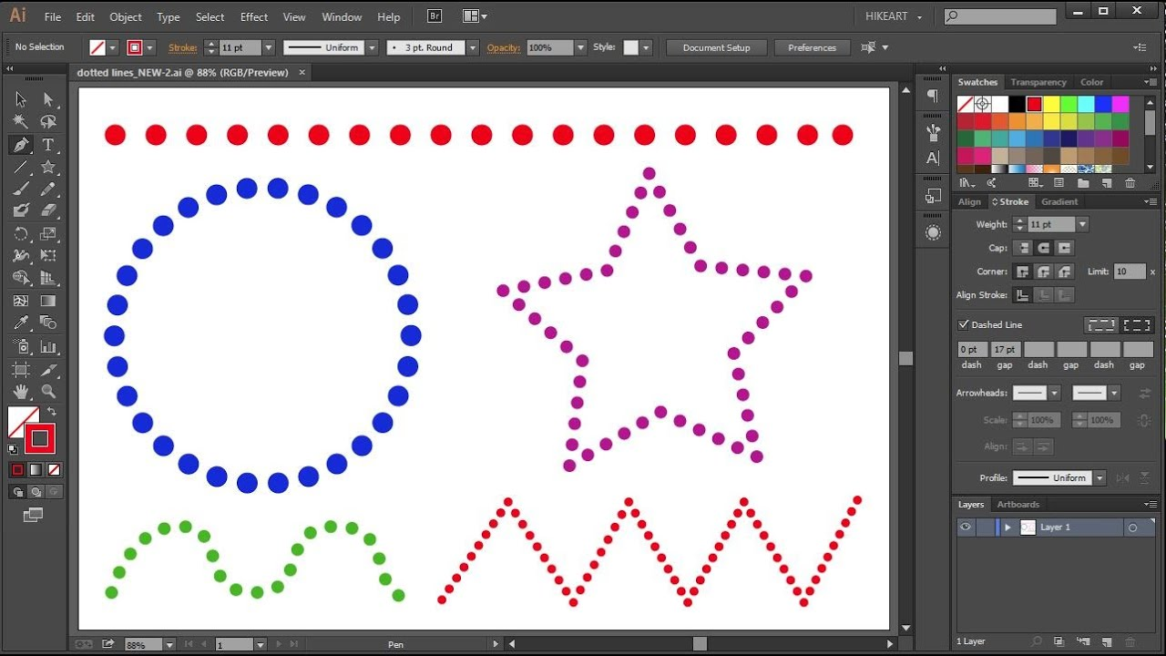 How To Make Dotted Lines In Adobe Illustrator Youtube