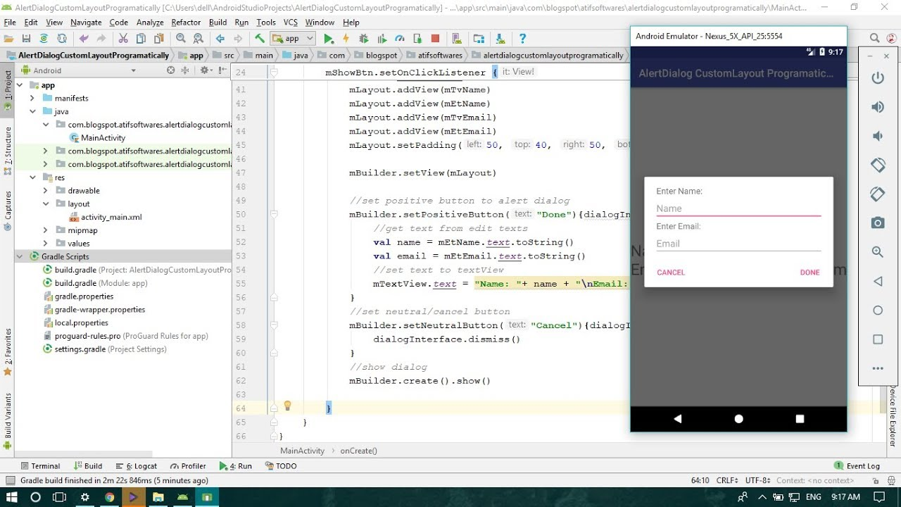 AlertDialog With Custom Layout Programmatically (Kotlin) - Android Studio  Tutorial