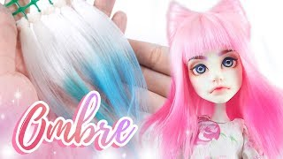 How to Make a Doll Wig | Ombre Wefts (2 WAYS!) + Kitty Ears Hairstyle Wig | Mozekyto #12