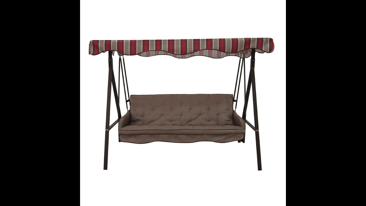 Garden Treasures Patio Swing Cushions Seat Support and Canopy Fabric Replacement  sc 1 st  YouTube & Garden Treasures Patio Swing Cushions Seat Support and Canopy ...