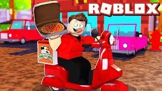 TRABALHEI ENTREGANDO PIZZA NO ROBLOX!!