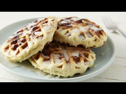cinnamon-roll-waffles-with-cream-cheese-glaze-|-pillsbury-recipe