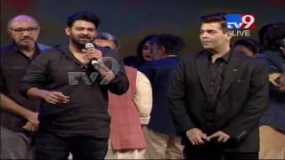 Prabhas lifts Karan Johar @ Baahubali 2 Pre Release Function - TV9