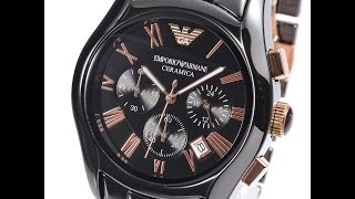 EMPORIO ARMANI AR1410 MENS WATCH CERAMICA BLACK ROSE GOLD REVIEW アルマーニ ブラック レビュー メンズ 腕時計