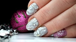 На Коротких Ногтях Зимний Дизайн Ногтей Бархатные Вензеля | ТОП удивителные дизайны ногтей