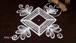 how to draw simple & easy rangoli kolam with 5 dots * latest small muggulu designs
