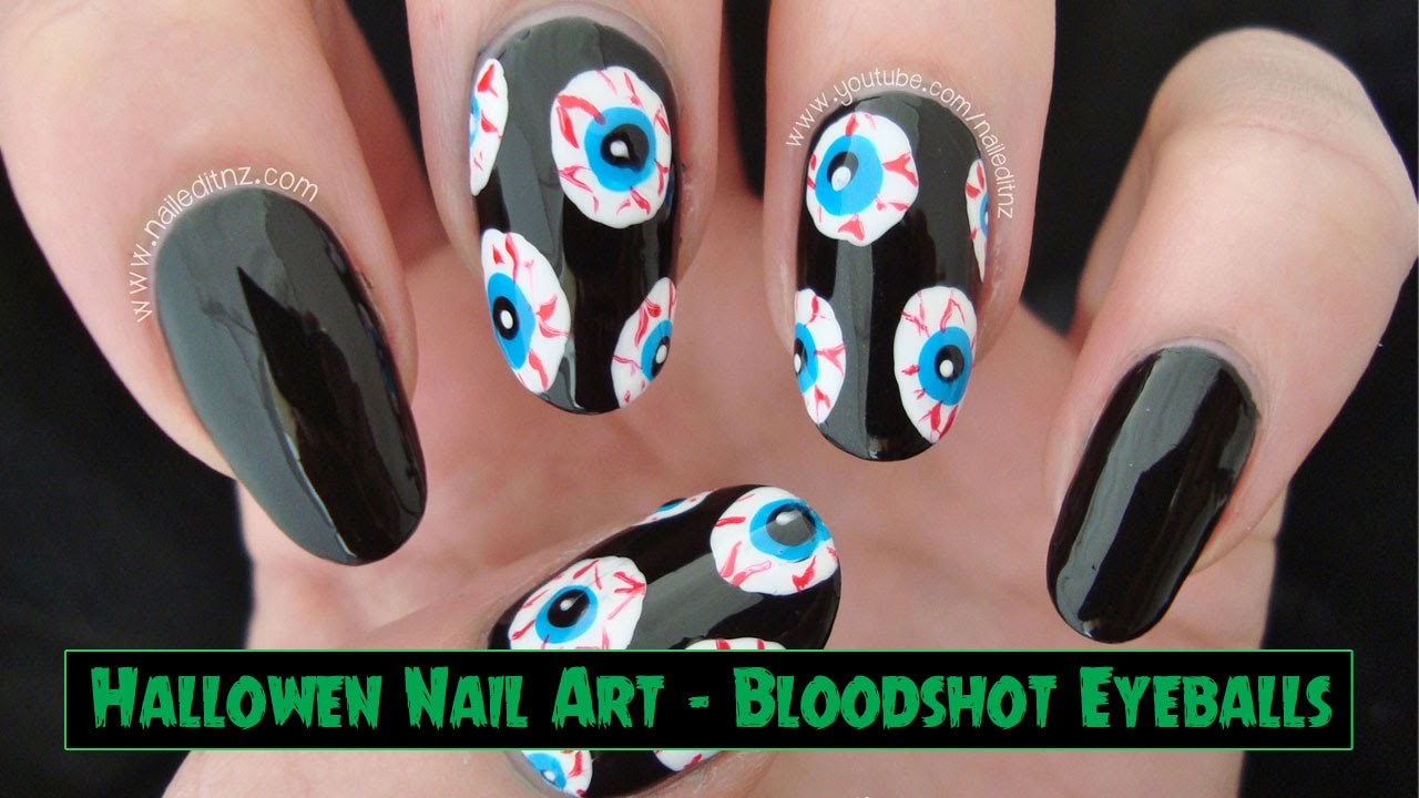 Bloodshot Eyeball Nail Art | Halloween Nails - YouTube