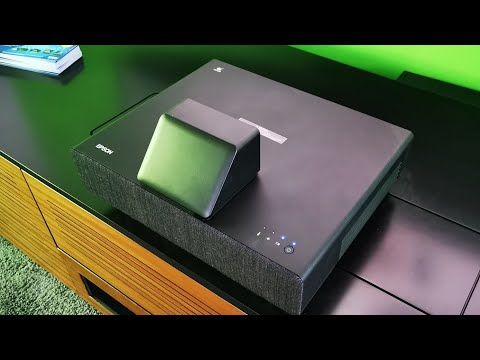 Epson EH-LS500 ultra short throw laser projector first look