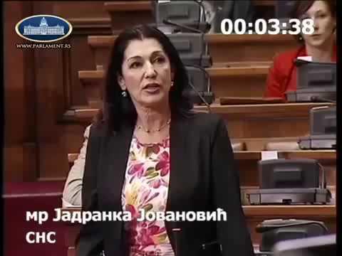 Jadranka Jovanović u Skupštini Srbije - O rešenju dugogodišnjeg problema baletskih umetnika